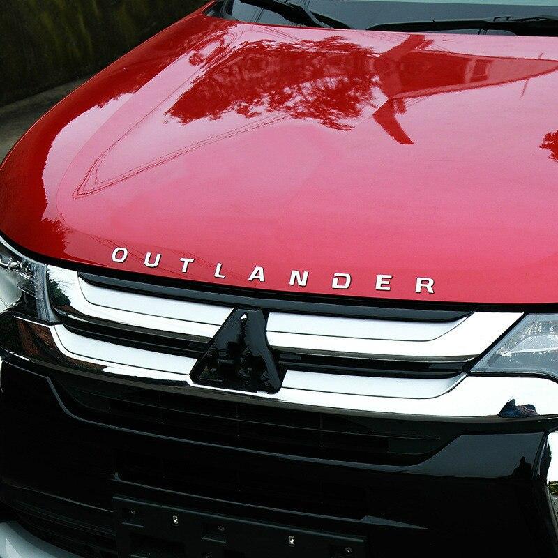 For Mitsubishi Outlander Chrome Car 3D Letters Hood Emblem Logo Badge  Car Stickers Styling Car Accessories Wording 3D Letter
