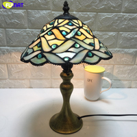 FUMAT 10 Inches Multicolor Glass Lampshade Table Lamps Tiffany Style Table Light For Living Room Decoration Study Desk Lamp