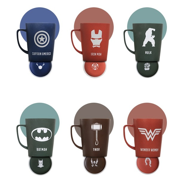 OUSSIRRO Super Hero Avenger Justice League Infinity Mugs With Cover and Spoon Pure Color Mugs Cup Kitchen Tool Gift 3