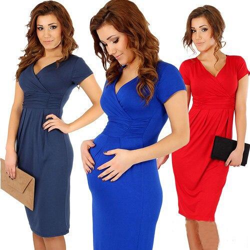 769657bf4adb1 Women's Maternity Dress Short Sleeve V-Neck Stretchy Pregnancy Clothes  Nursing Women Vintage Business Casual Pencil Sheath Dress