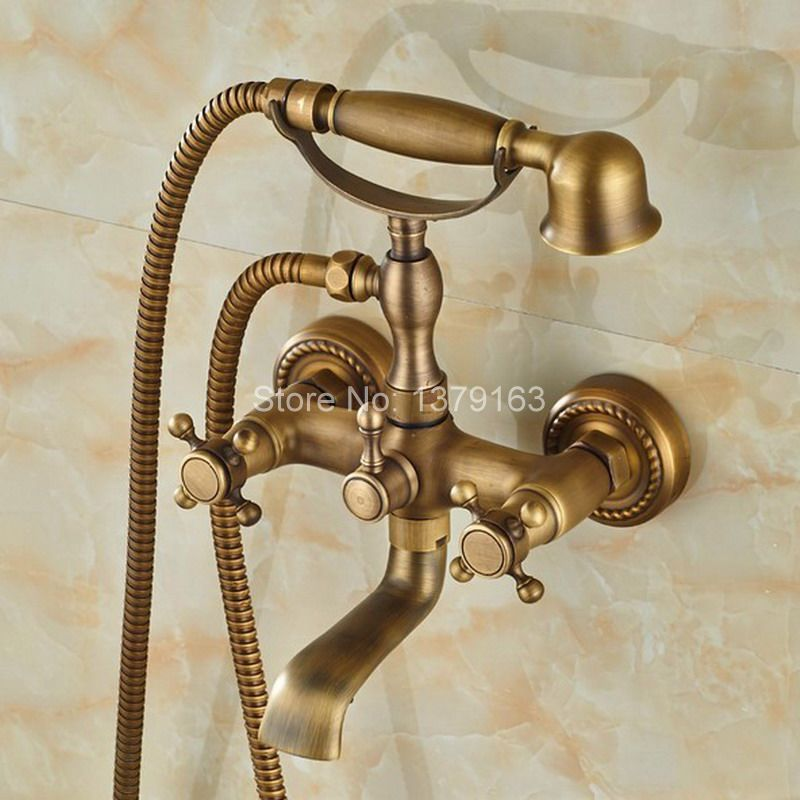 Antique Brass Wall Mounted Bathroom Tub Faucet Dual Cross Handles Telephone Style Hand Shower Clawfoot Tub Filler atf024
