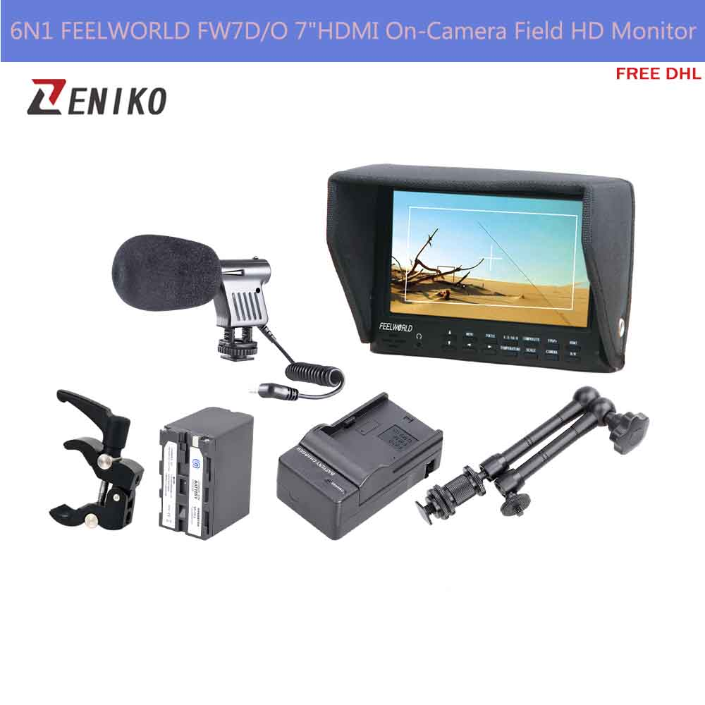 Free DHL 6N1 FEELWORLD FW7D/O 7HDMI On-Camera Field HD Monitor + Battery w/Charger + Magic Arm+ Super Clamp + Microphone d o n s design on sound