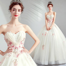 2019 New Spring Arrival Fashion Sweetheart Beading Floor Length Champagne Wedding Dress +Free Petticoat 76(China)