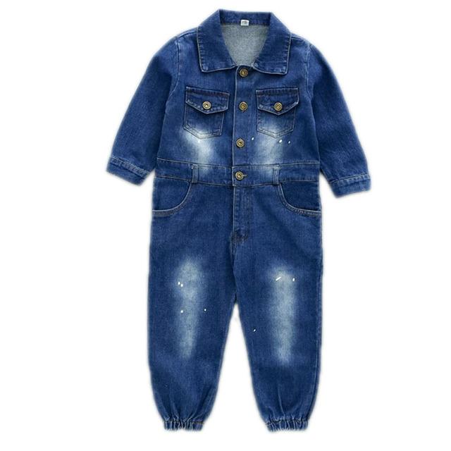 Romper do bebê de manga longa crianças macacão calças 2016 bew ferramental algodão bebê roupas primavera outono das crianças denim macacão