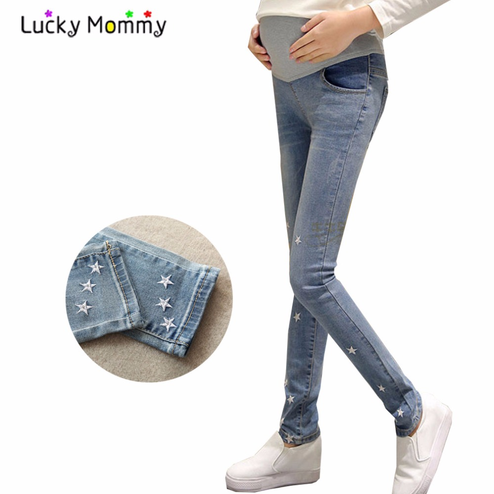 Fashion Star Maternity Jeans Autumn Spring Pregnancy Clothes for Pregnant Women High Waist Maternity Pants Trousers Ropa Premama 2017 spring autumn women trousers new plus size stretch casual jeans elastic high waist fashion slim black pencil denim pants