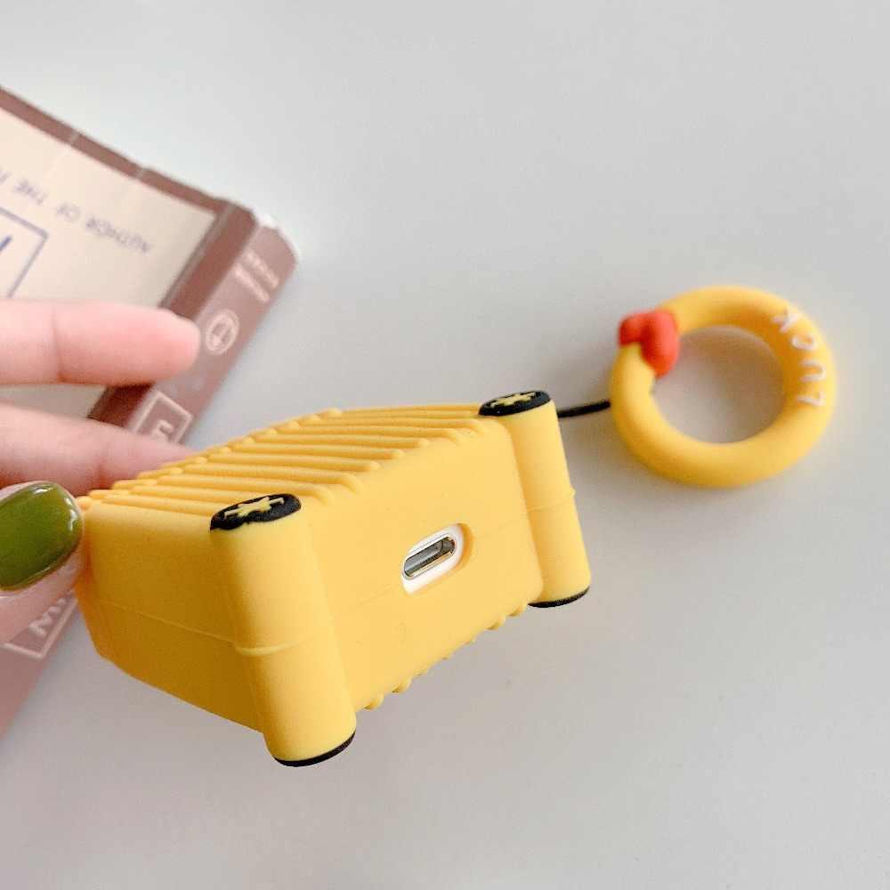 Mini forma mala Quadrada design caso Para Apple Airpods Carregamento Caixa Caso do Fone de ouvido Bluetooth Sem Fio com Alça de Anel de Dedo