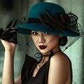 Fashion Evening hats for Women perimeter 57cm Wedding Hats Lady Elegant formal hair-accessories-cheap Peacock Blue Hat