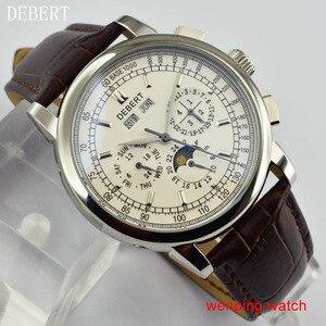"""Image 3 - Debert 42 מ""""מ חיוג לבן מקרה פלדת ירח שלב אוטומטי גברים שעונים לE2481"""