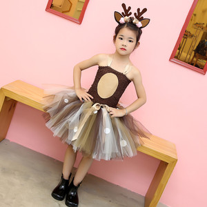 Image 3 - Girls Reindeer Dress Up Costumes Children O neck Pattern Solid Dress Christmas Birthday Party Kids Dresses for Girls Ball Gown