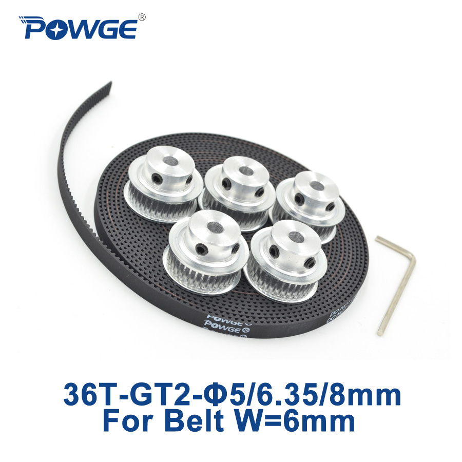 POWGE 5pcs 36 teeth GT2 Synchronous Pulley Bore 5mm 6.35mm 8mm + 5Meters GT2 open Timing Belt width 6mm 2GT pulley 36Teeth 36T powge 36 teeth gt2 timing pulley bore 5mm 6 35mm 8mm for width 9mm gt2 timing belt small backlash 2gt pulley 36teeth 36t 1pcs