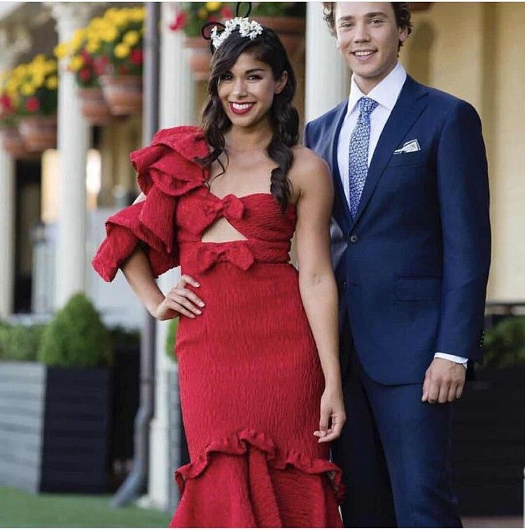 Vestido de Fiesta de Primavera de 2019 nuevo color rojo con volantes para mujer-in Vestidos from Ropa de mujer    3