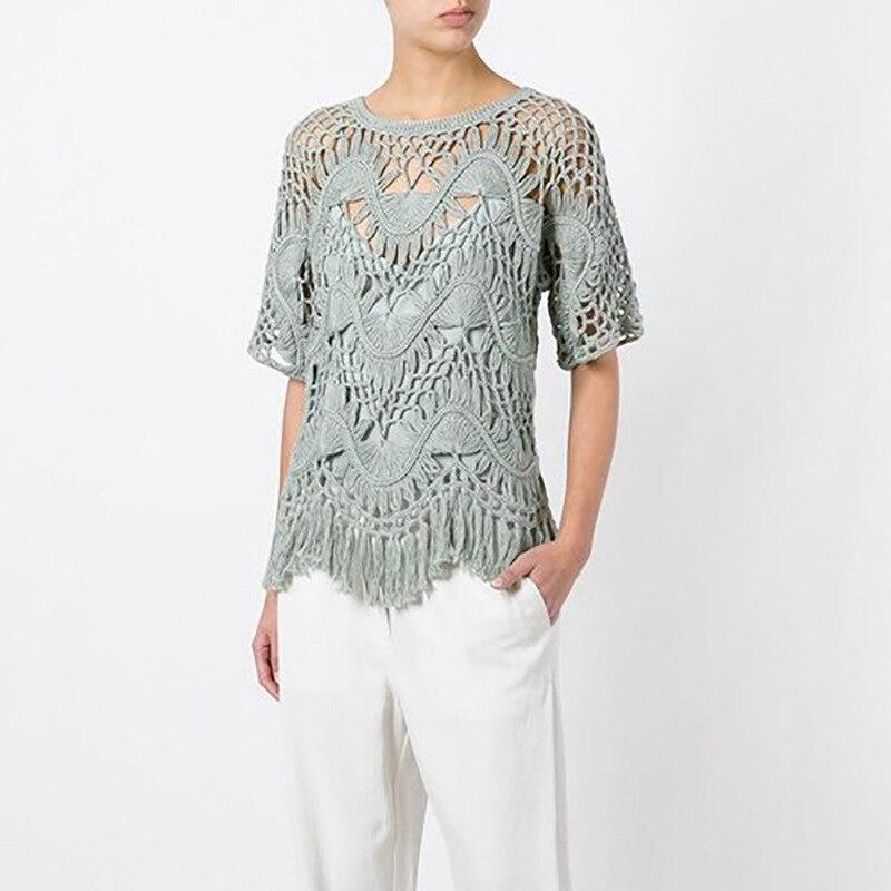 Mode tricoté évider t-shirt hauts femmes d'été glands t-shirt D211