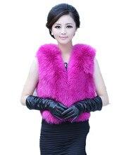V336-luxury women New arrival  autumn winter warm waistcoat,white pink Khaki fur vest of genuine fox