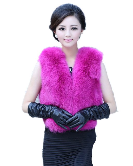V336-luxury women New arrival  autumn winter warm waistcoat,white pink Khaki fur vest of genuine fox