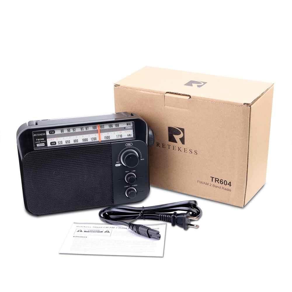 Retekess TR604 FM/AM 2 Ban Nhạc Cầm Tay AC Sử Dụng Nguồn Sạc Đầu Thu Với 3.5 Mm Tai Nghe Chụp Tai Cho Các người Cao Tuổi