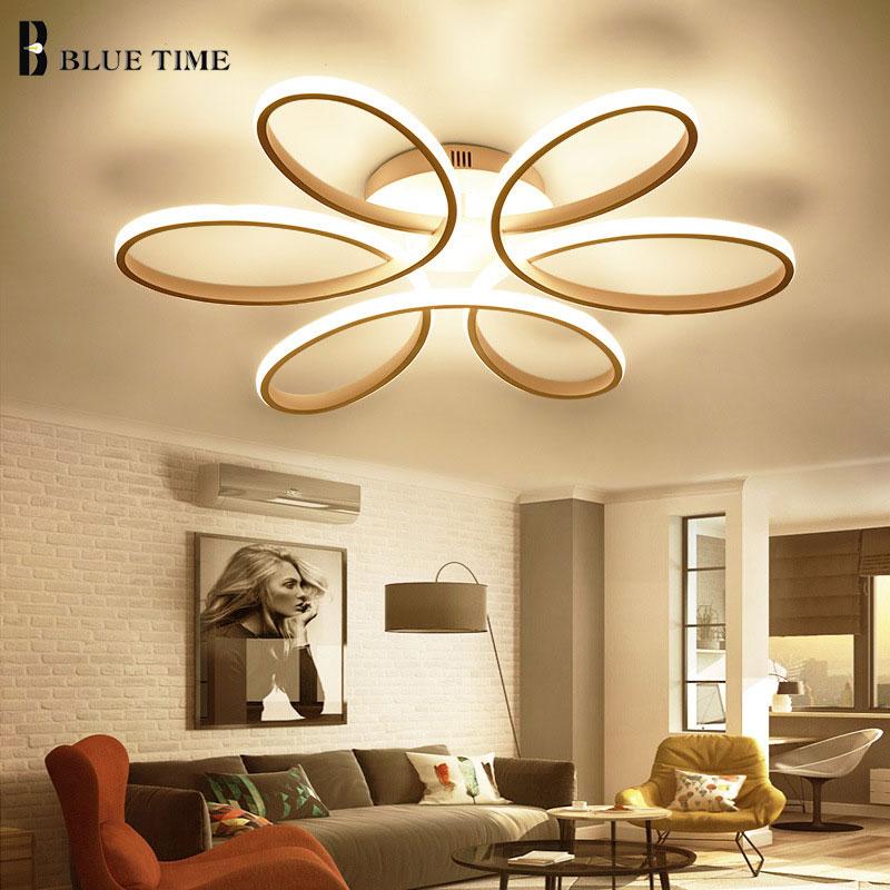Белый современный светодиодный Потолочные светильники для гостиной столовой люстры для спальни светодиодный Люстра потолочная лампа осве...