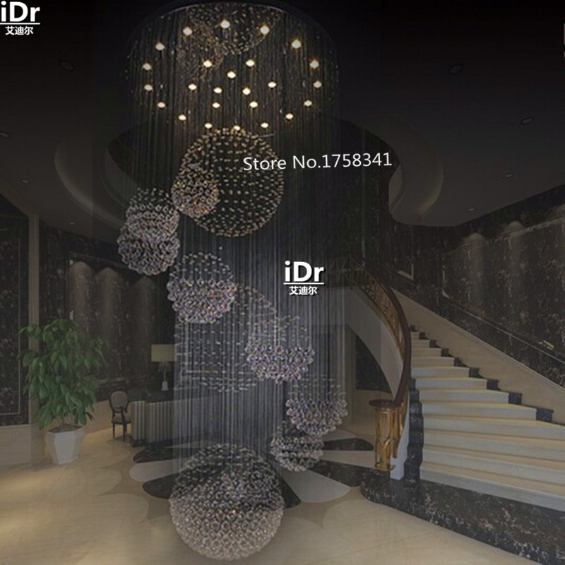 New Modern Hotel Lobby Crystal Chandelier Staircase Dia90xh300cm Contemporary Lighting Rd 02 In Chandeliers From Lights
