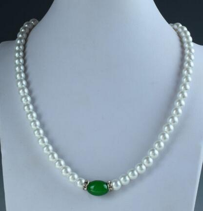 Chinese Natural shell Pearl & stone Handwork Carved Beads Necklace