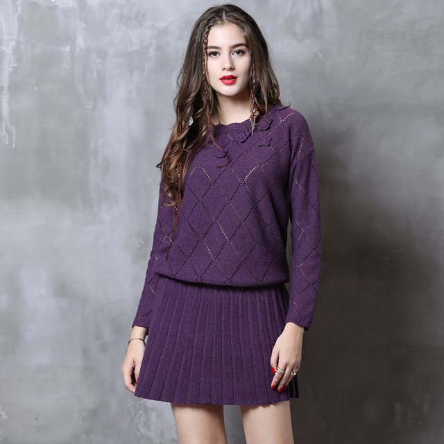 716ec19a457 Ladies Sweater Dress 2018 Women Long sleeve Autumn Winter Floral Pleated  Knitted Mini Dresses