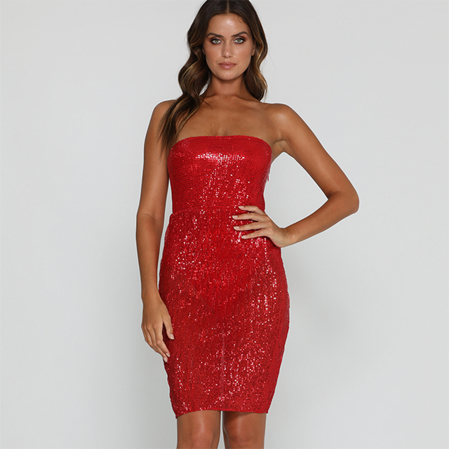 8fdd8456e99b2 Autumn and winter New Nightclub Women s Sexy Tube Top Off-Shoulder Slim Bag  Hip Sequins Dress Black Red Champange Color