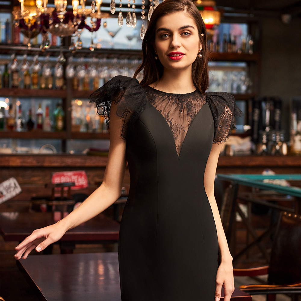 Dressv black scoop neck simple cocktail dress elegant cap sleeves ...