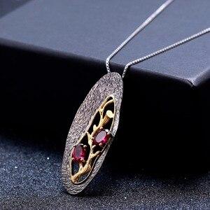 Image 5 - GEMS bale 1.2Ct doğal Rhodolite Garnet yazılı kolye 925 ayar gümüş orijinal el yapımı kolye kolye kadınlar için