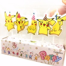 5pcs/lot Pokemon Go Party Supplies Kids Birthday Candles Evening Party Decorations Set Birthday Party Cake Candles