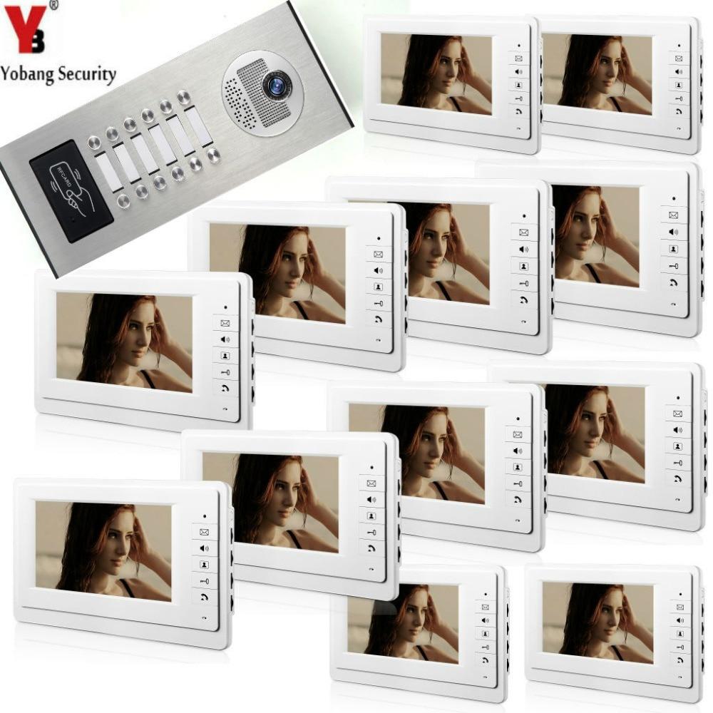 Yobang Security Wired 7 LCD Monitor Visual Video Doorbell Monitor Intercom System RFID IR 1000TVL Camera For 12 Units ApartmentYobang Security Wired 7 LCD Monitor Visual Video Doorbell Monitor Intercom System RFID IR 1000TVL Camera For 12 Units Apartment