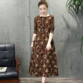 Autumn Dresses Cotton Linen Women Dresses Plus Size Women Clothing O Neck Long Sleeve Loose Waist Floral Pirnt Women Dress