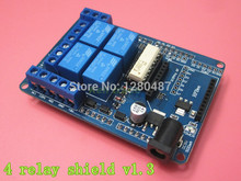 Free shipping! 10pcs/lot 4 channel 5V Relay module extension board Relay Shield V1.3 for arduino compatible