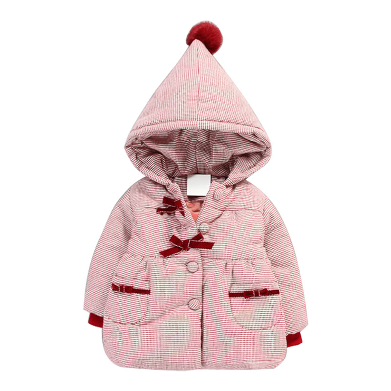 Children Coat Baby Girls Winter Coats Cute Hooded Long Sleeve Cotton -Padded Girl's Warm Inner Fleece Kids jacket Outerwear stylish long sleeve fleece lined hooded coat for women