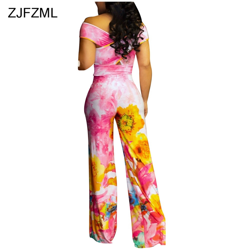 16848206c7be ZJFZML Tie Dye Floral Print Sexy Hollow Jumpsuit Women Off Shoulder Wide Leg  Overalls Body Femme Summer One Piece Full Rompers -in Jumpsuits from  Women s ...