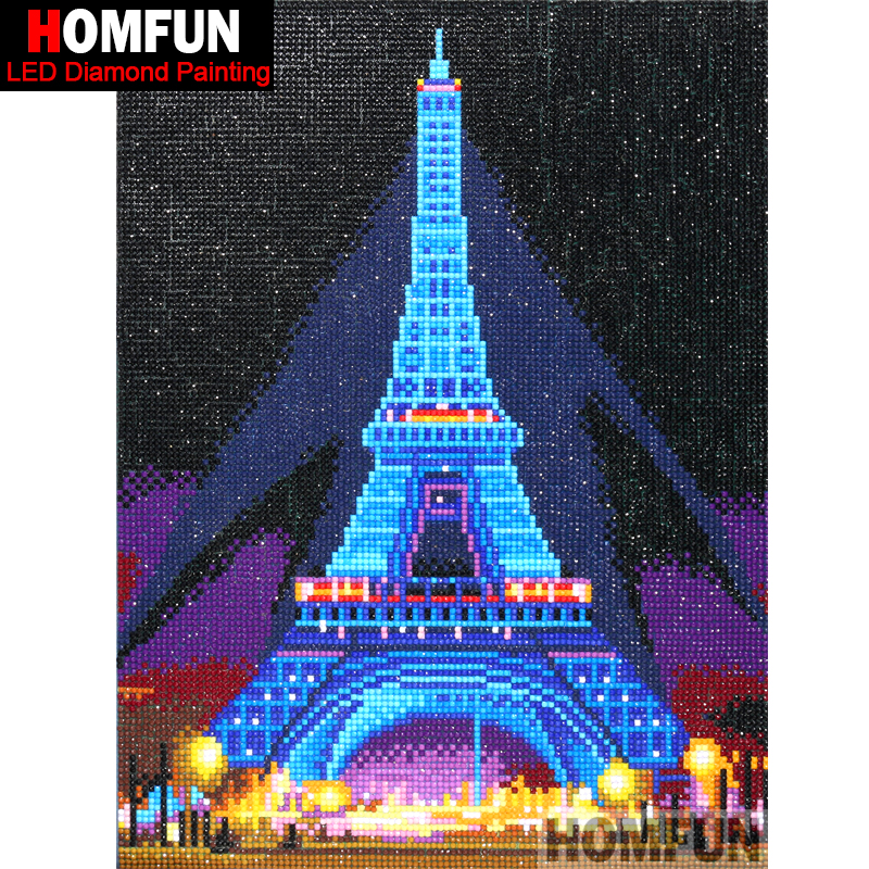 Image 2 - HOMFUN LED Light Full Round Drill 5D DIY Diamond Painting Eiffel