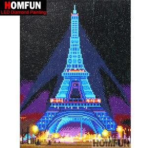"""Image 2 - HOMFUN ha condotto la luce completa punta rotonda 5D fai da te diamante pittura """"torre Eiffel"""" 3D ricamo punto croce 5D Decor regalo 30x40cm"""
