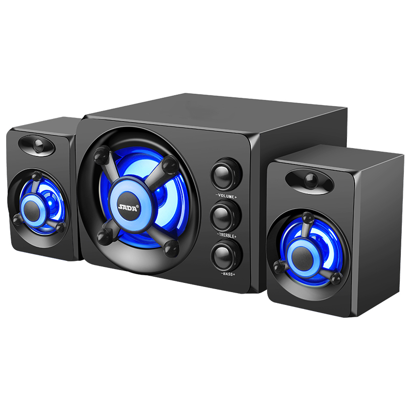 Wired USB Powered Desktop Computer Speakers With Colorful or Blue light, 2.1 Subwoofer Gaming and Multimedia Notebook PC Speaker