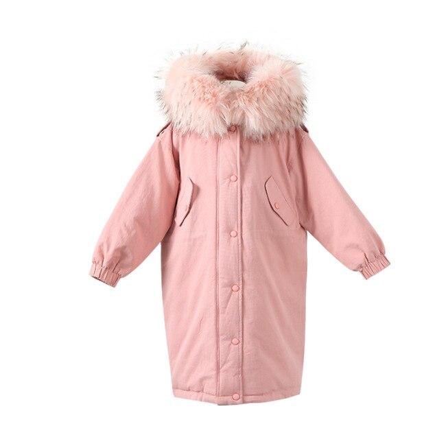 Enfants coton vestes 2019 hiver filles grand col en fausse fourrure vêtements d'extérieur filles rose à capuche Long coton manteaux enfants chauds Parkas