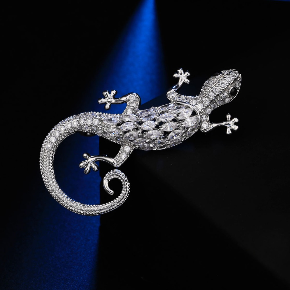 Lizard Animal Cute Brooches For Women Pins Metal Rhodium Plated Clear Austria Crystal Pins Jewelry Accessories Broches Women brooch pins pink flamingo brooches for women love cute gift enamel lapel pin broche broches 2018 fashion jewelry accessories