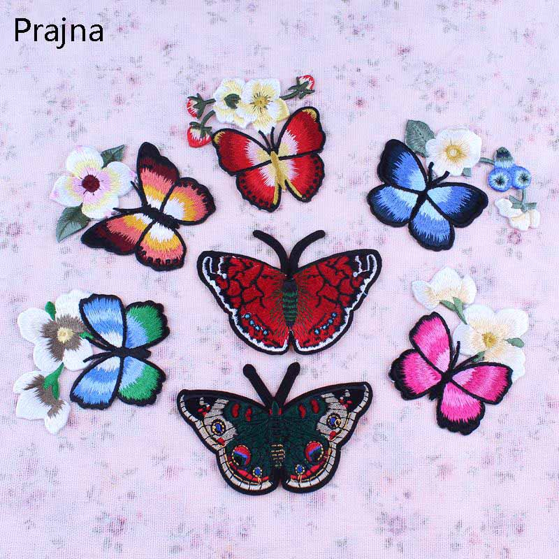 1PCS Butterfly With Flower Patch Embroidery Badge Applique Iron On Patches Cute Cheap Sewing Patches For Clothes Dress Decor