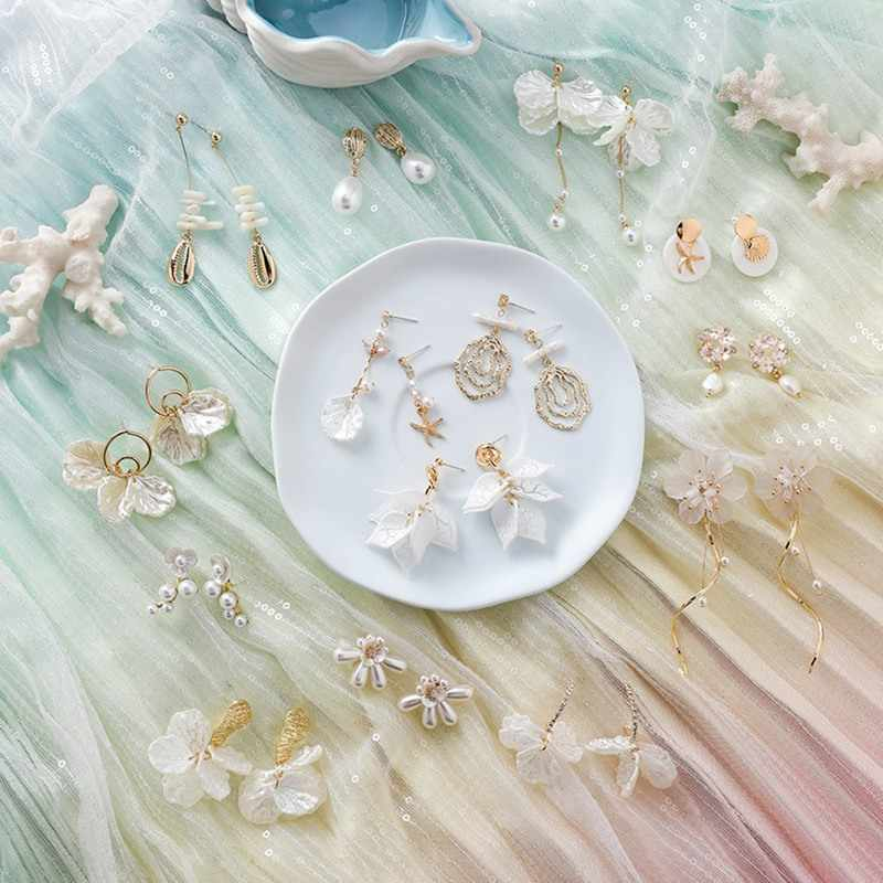 MENGJIQIAO New Korea Japan Elegant Shell Starfish Drop Earrings For Women Sweety Simulated Pearl Pendientes Girl Party Jewelry