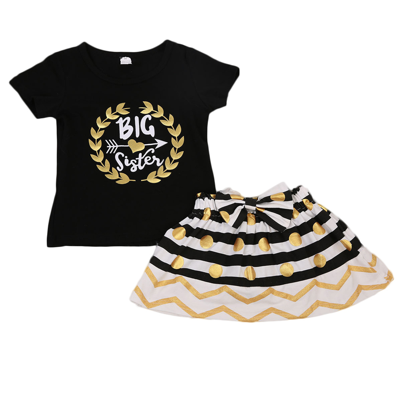 New Fashion Lovely Kid Baby Girls Little Big Sister Matching Clothes Short Sleeve Romper T-shirt Striped Skirt Outfit gNew Fashion Lovely Kid Baby Girls Little Big Sister Matching Clothes Short Sleeve Romper T-shirt Striped Skirt Outfit g