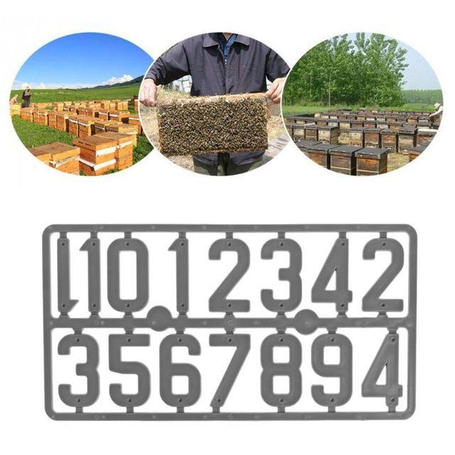 Conjunto Colméia 1 Número Números de Marcação Digital de Placa de Plástico Equipamentos de Apicultura Abelha Caso Caixa de Quadro Ferramentas de Identificação de Sinal