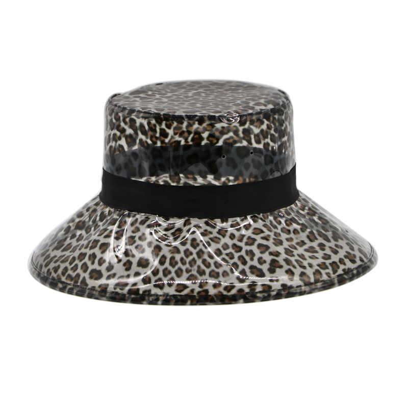 6920330b69a4e ... Summer Transparent Women s PVC Leopard Bucket Hats Ladies Beach Visor  Hat Waterproof Rain Cap Plastic Wide ...