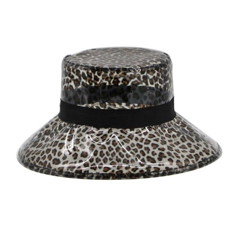 Summer Transparent Women 39 s PVC Leopard Bucket Hats Beach Visor Hat Waterproof Rain Cap Plastic Wide brimmed Hat in Women 39 s Bucket Hats from Apparel Accessories