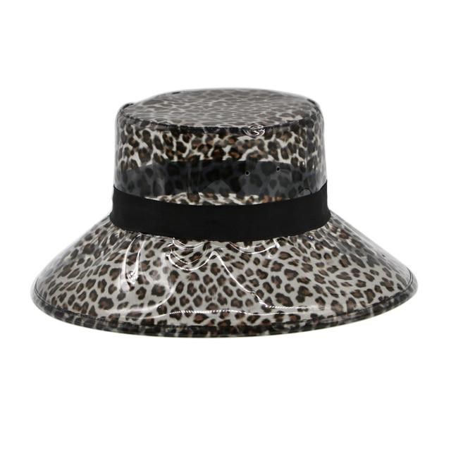 Summer Transparent Women s PVC Leopard Bucket Hats Ladies Beach Visor Hat  Waterproof Rain Cap Plastic Wide-brimmed Hat 74567b6e789