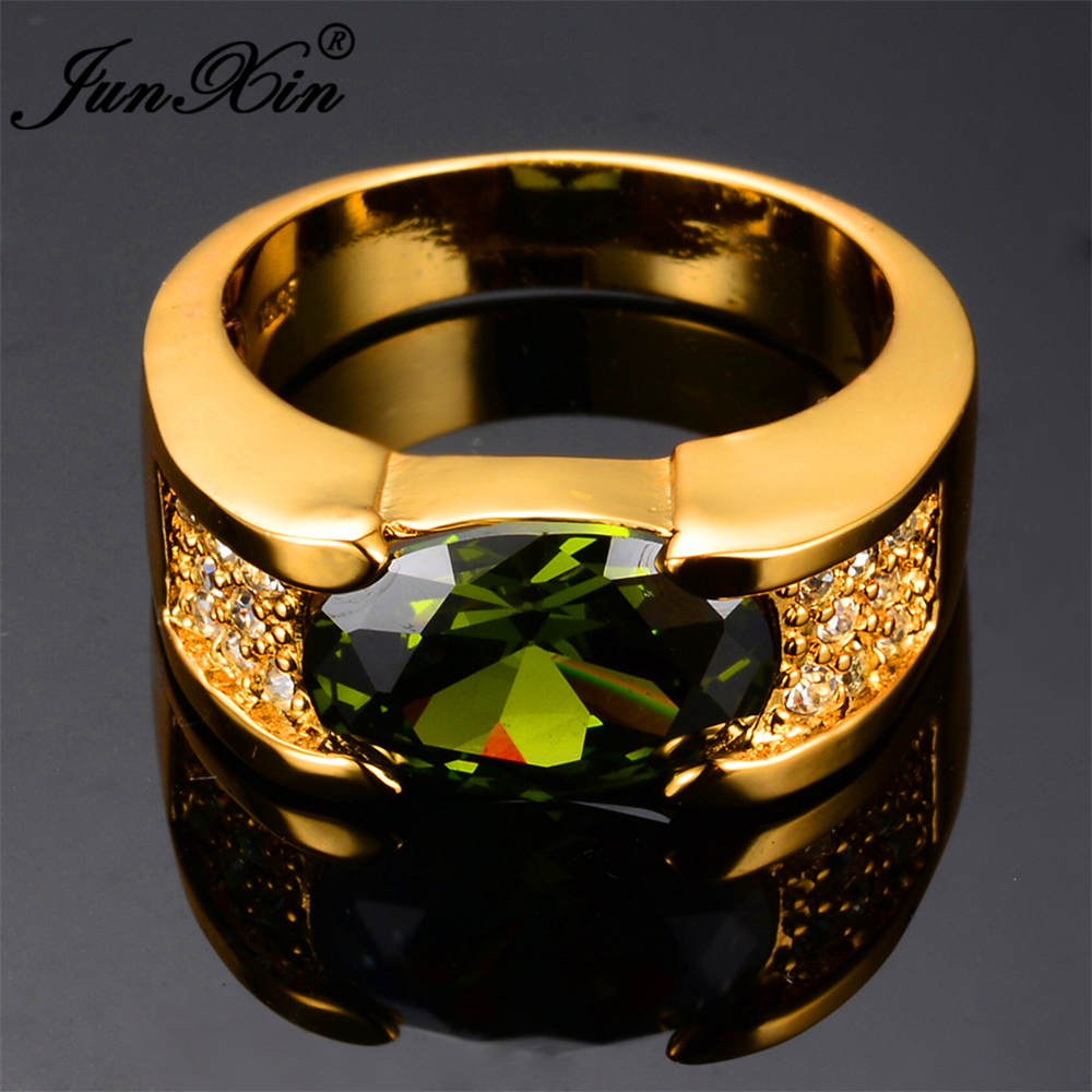 JUNXIN 2017 Fashion Peridot Oval Male Ring 10KT Yellow Gold Filled ...