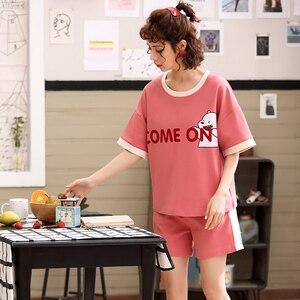 Image 3 - Summer Pyjamas Cotton Cartoon Couple Pajamas Set Short Sleeve Two Pieces Set Pajama Cute Casual Soft Plus Size Lovers Sleepwear