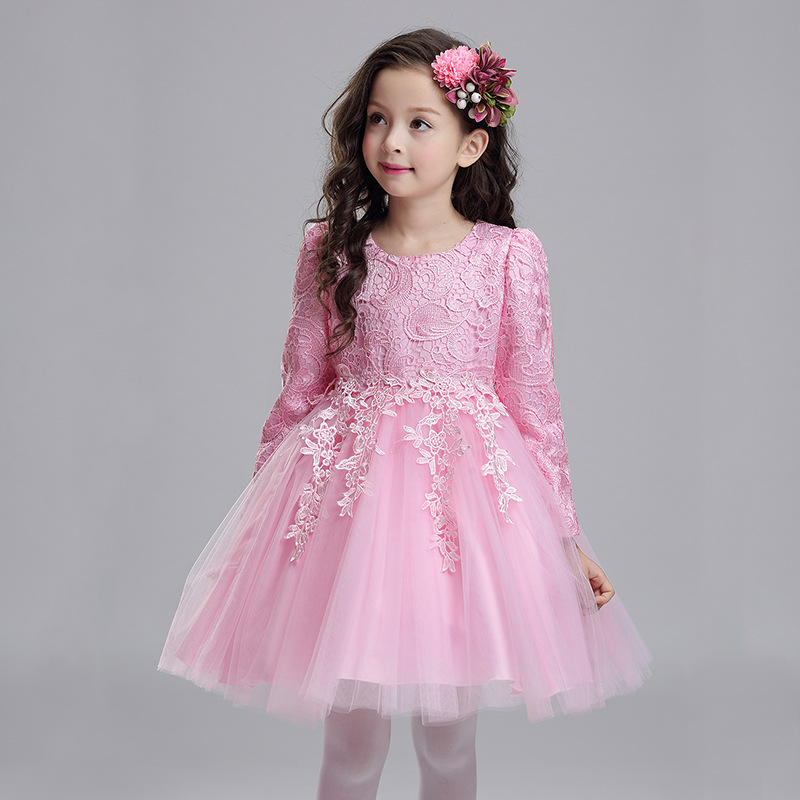2018 New Autumn Long Sleeves Wedding Flower Party Girl Dress Kids Baby Elegant Birthday Christmas Clothes Children Pink Dress pink lace up design cold shoulder long sleeves hoodie dress