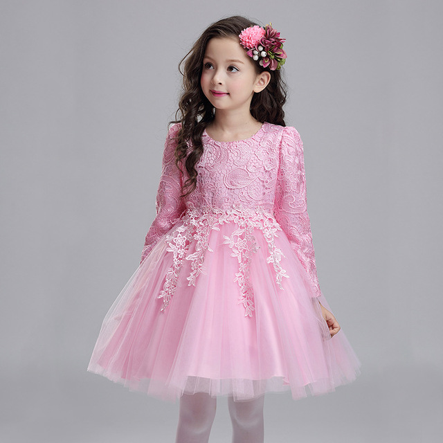 2b5627742 2018 New Autumn Long Sleeves Wedding Flower Party Girl Dress Kids ...