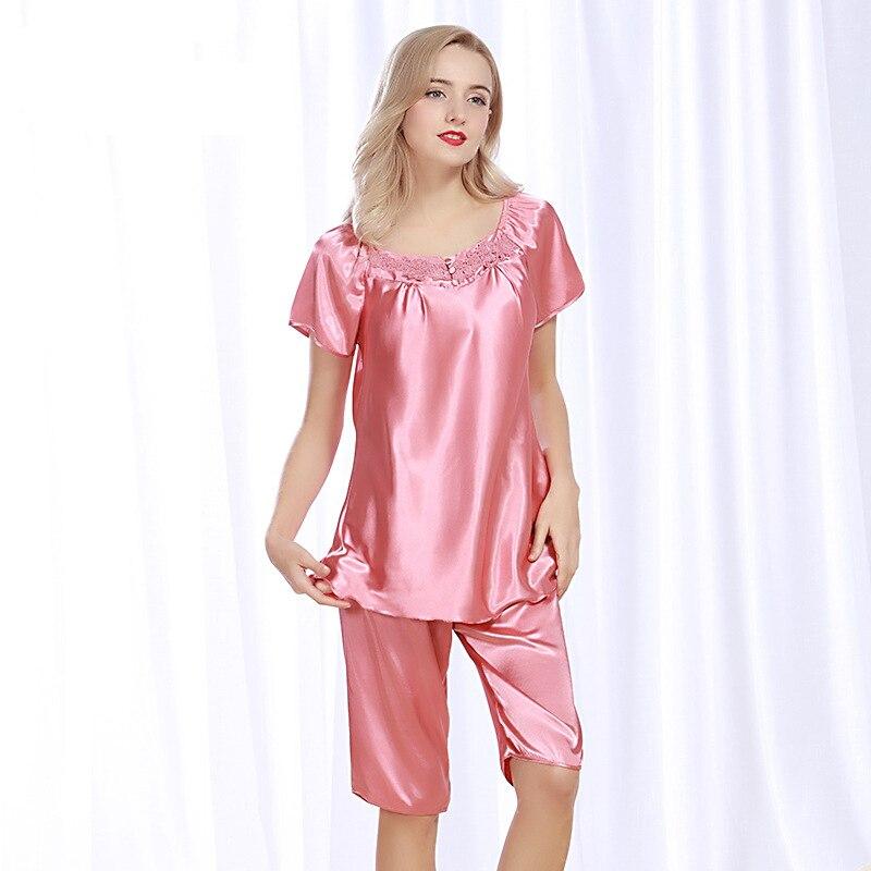 SSH080 2017 Female Sexy Satin Silk   Pajama     Set   High Quality Lounge   Pajamas   Pijama Pyjama Plus Size Short Sleeves Women Nightwear