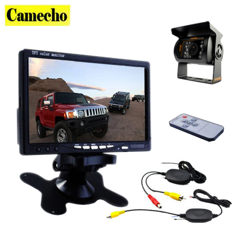 camecho 12v 24v car rear view wireless backup camera kit 7 tft lcd monitor for truck van. Black Bedroom Furniture Sets. Home Design Ideas